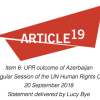UPR outcome of Azerbaijan 39th Regular Session of the UN Human Rights Council