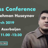 Invitation to a press conference by Mehman Huseynov