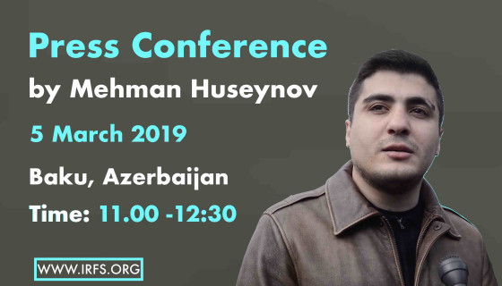Invitation to a press conference by Mehman Huseynov